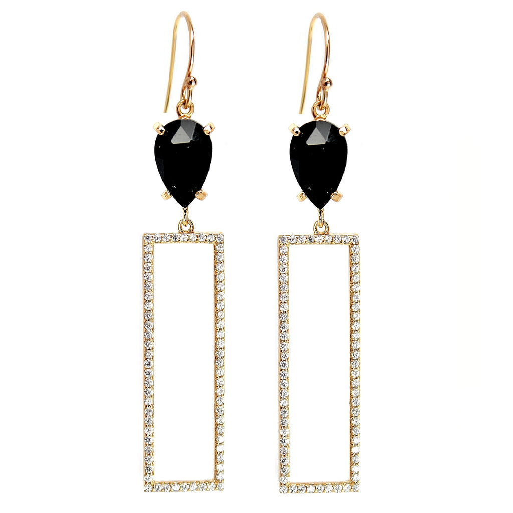 Black Pave Drop Earrings