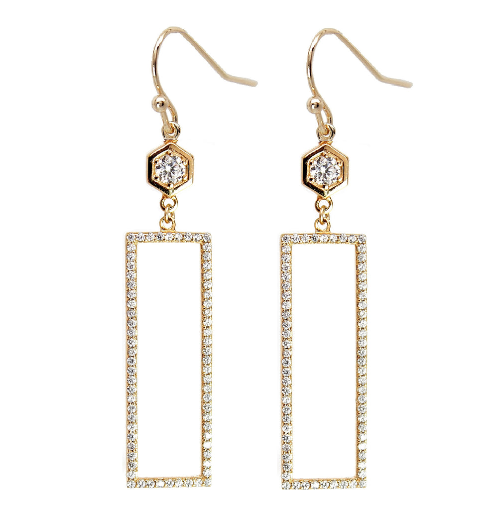 Hexagon Rectangle Pave Earrings