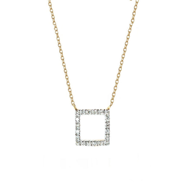 Square Diamond Pendant Necklace