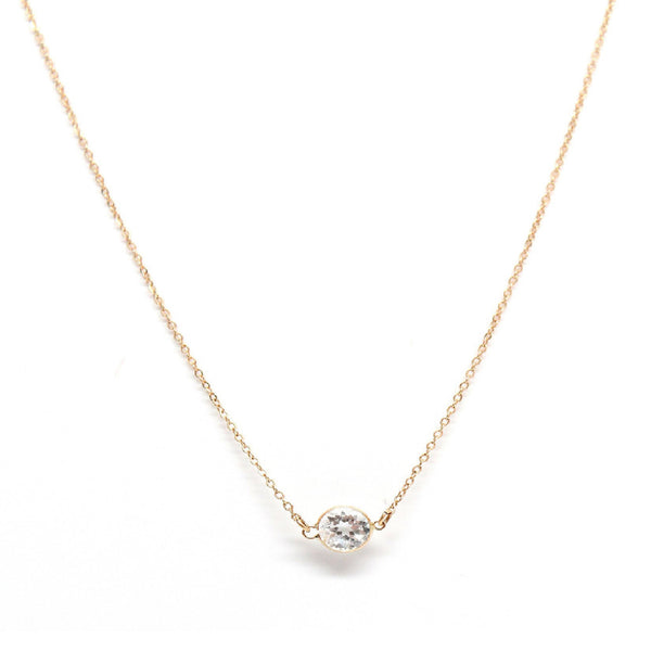 White topaz solitaire gold necklace