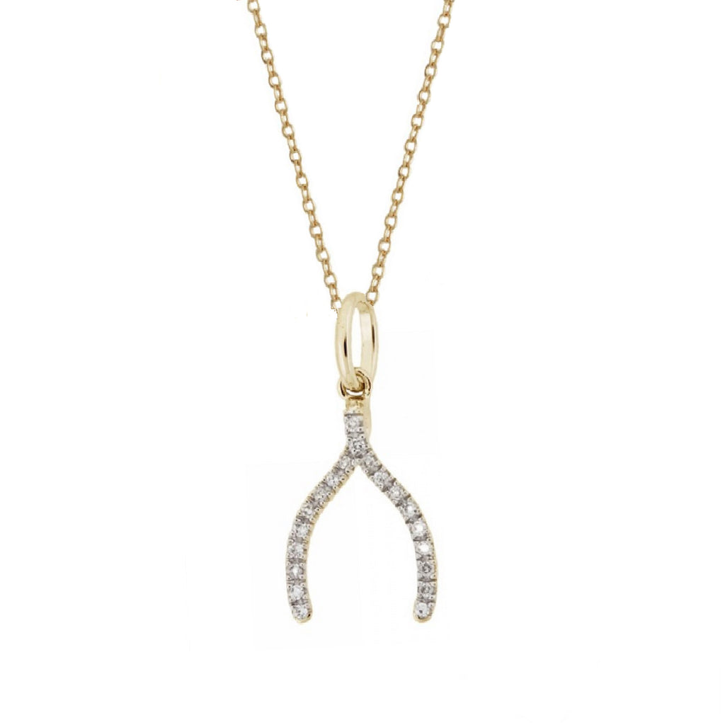 Rachael Ryen Solid gold wishbone necklace with diamonds