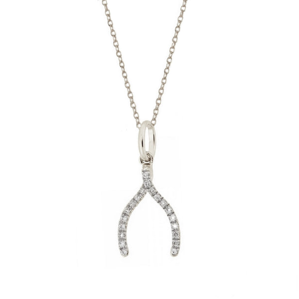 14k White Gold Diamond Wishbone Charm Necklace