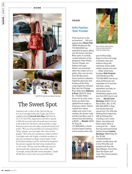 Cakewalk Style named one of Houston's Sweet Spots by Houston Modern Luxury
