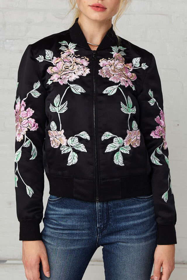 3x1 WJ Satin Collection Jacket w/ Floral Embroidery ...