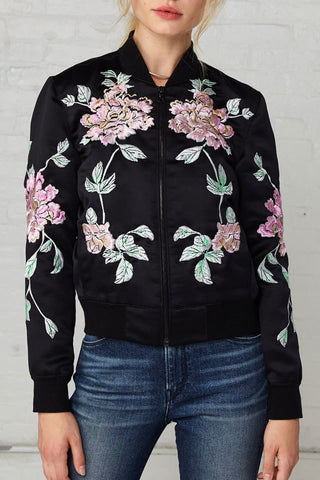 3x1 WJ Satin Collection Jacket w/ Floral Embroidery
