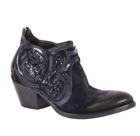 Strategia Italian Suede & Glitter Ankle Booties in Black/Navy