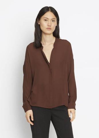 Vince Double Front Blouse in Cordovan