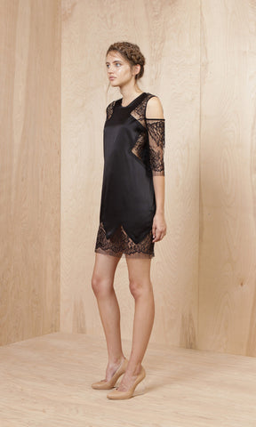 Michelle Mason Silk Lace Cold Shoulder Shift Dress