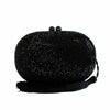 Cakewalk Signature Crystal Encrusted Oval Minaudiere in Black