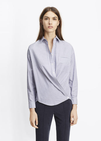 Vince Poplin Stripe Crossover Button Top