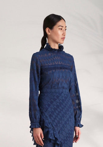 Saloni Emile Blouse in Navy