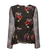 Tanya Taylor Floral Bouquet Chiffon Marine Top