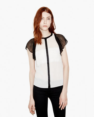 The Kooples Crepon Silk & Satin Stripes Top