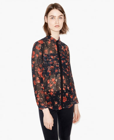 The Kooples Rose Print Top