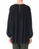 Tibi Heavy Silk CDC Smock Blouse in Black