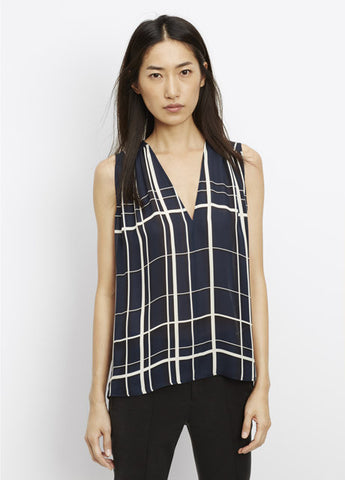 Vince Lattice Print Shirred Shoulder Tank