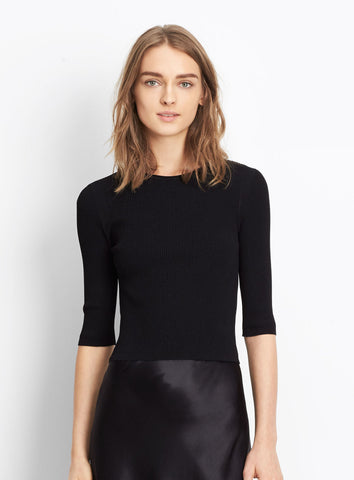 Vince Ribbed Elbow Sleeve Cropped Pullover