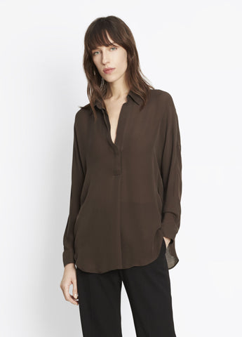 Vince Shirred Back Yoke Top