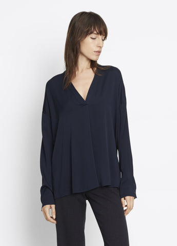 Vince Crossover Vee Silk Blouse in Coastal