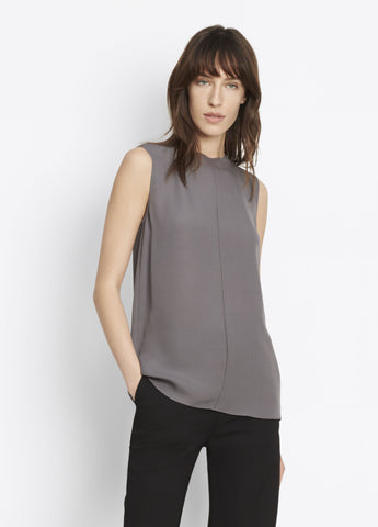 Vince Sleeveless Seamfront Blouse