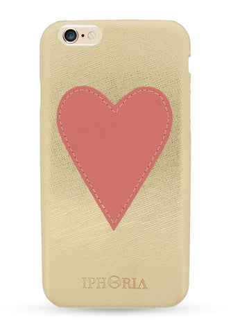 IPhoriaPink Heart Patch Case Gold for iPhone 6/6s