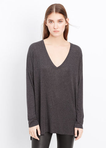Vince Luxe L/S Heathered V-Neck