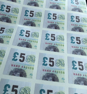 £5 Note Self Adhesive Corner Labels By Warped Magic