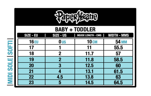 Baby and Toddler PaperKrane size chart