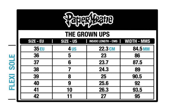 The Grown Ups PaperKrane size chart