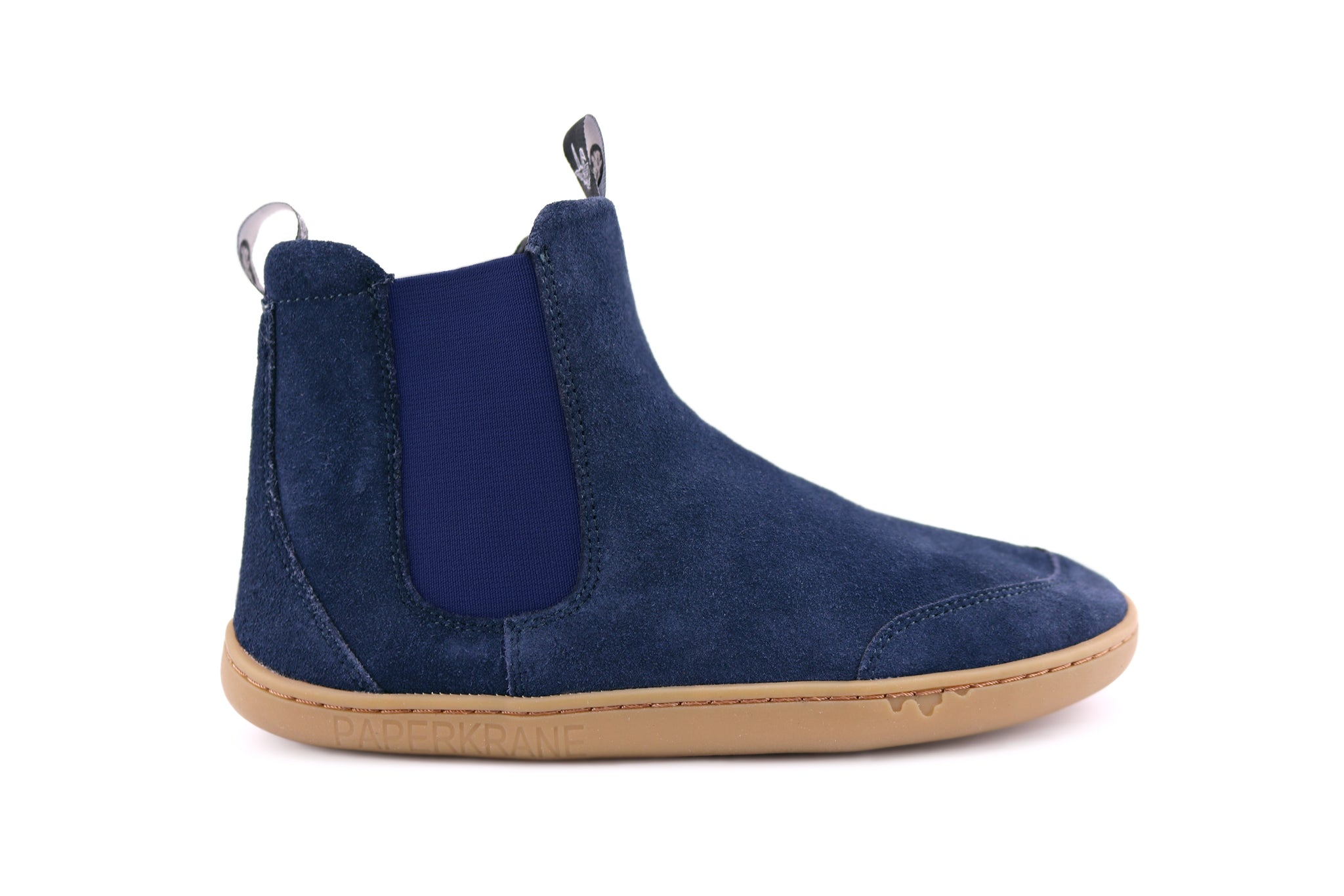 NAVY SUEDE CHELSEA PK SIDE VIEW