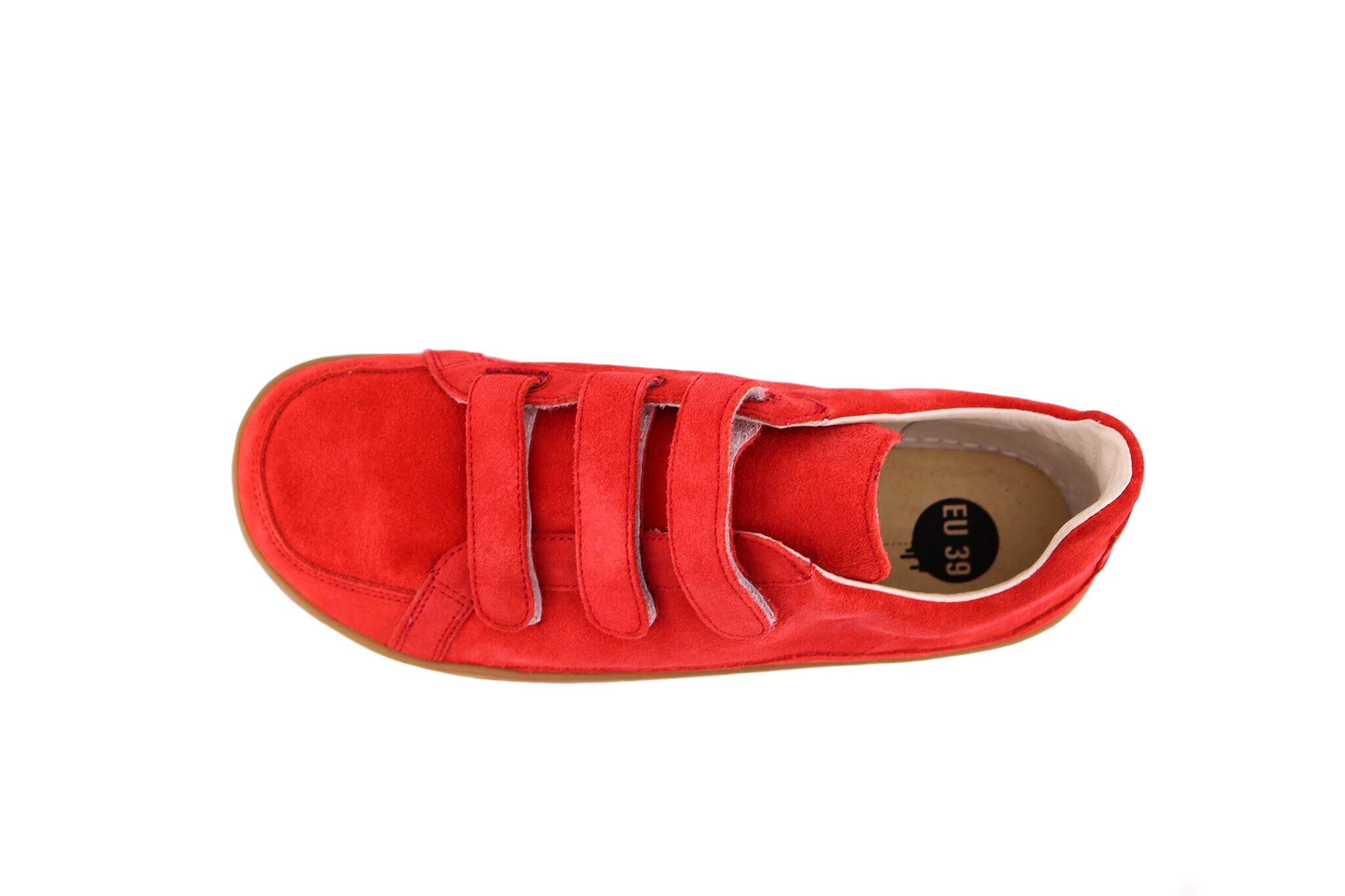 Red suede PK velcro shoe top view