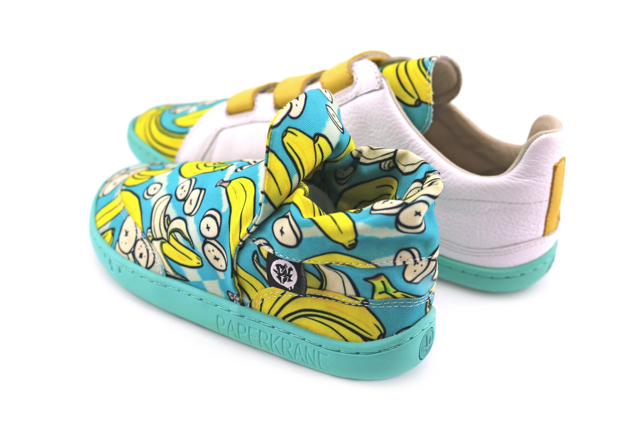 Matching PaperKrane shoes with bananas on them.