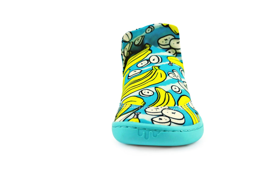 Side view of signature style PaperKrane shoe with banana print.