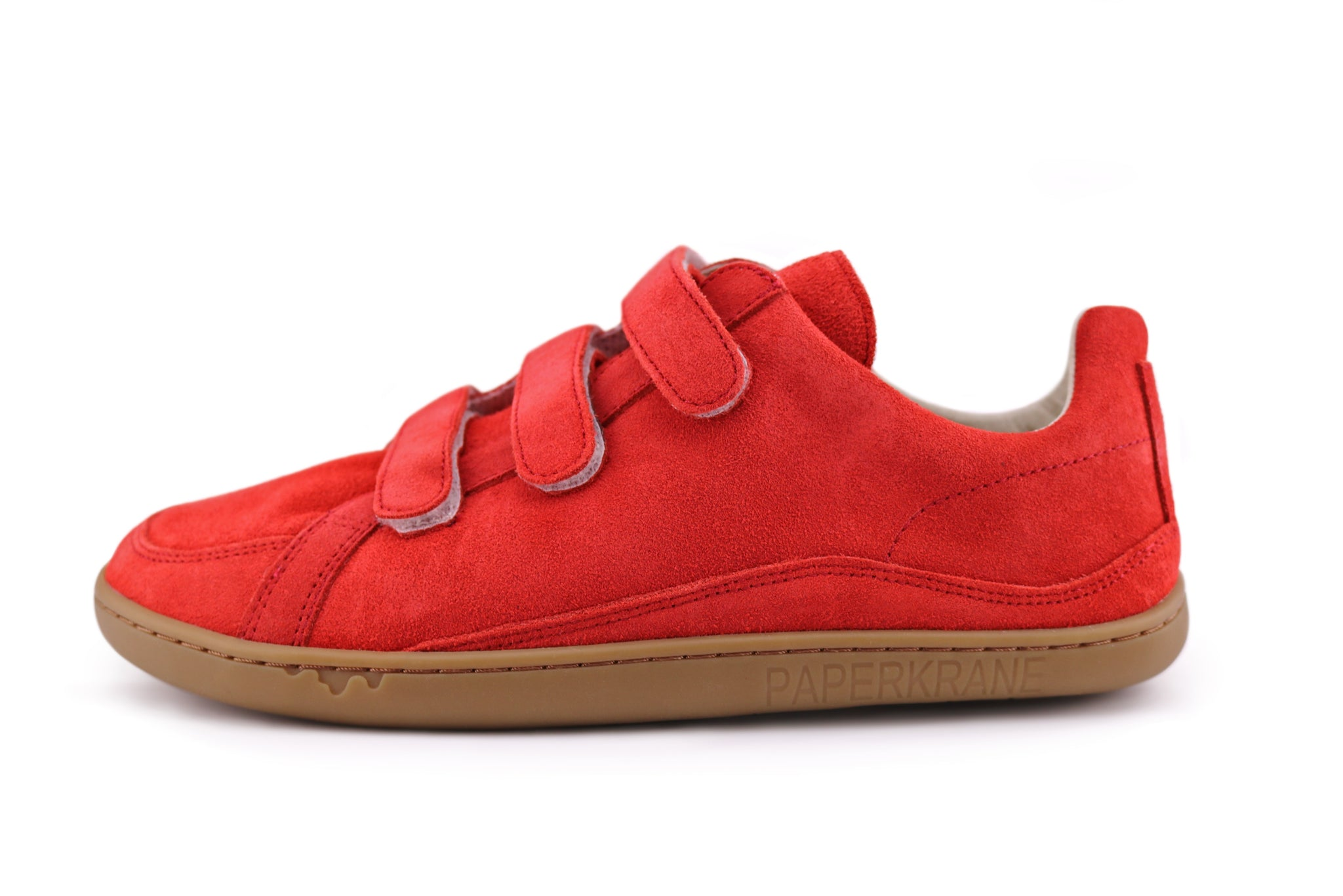 Red suede PaperKrane velcro shoe side view