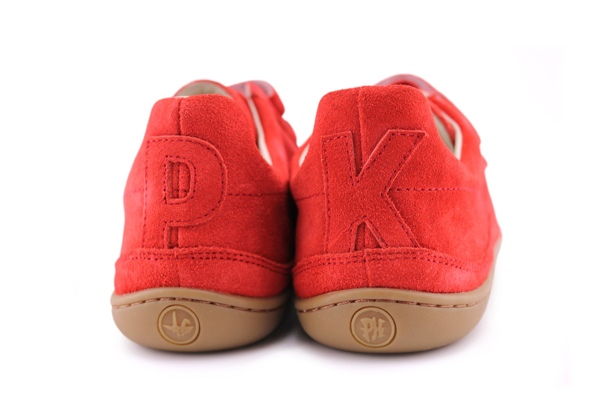 Red suede PaperKrane velcro shoe rear view