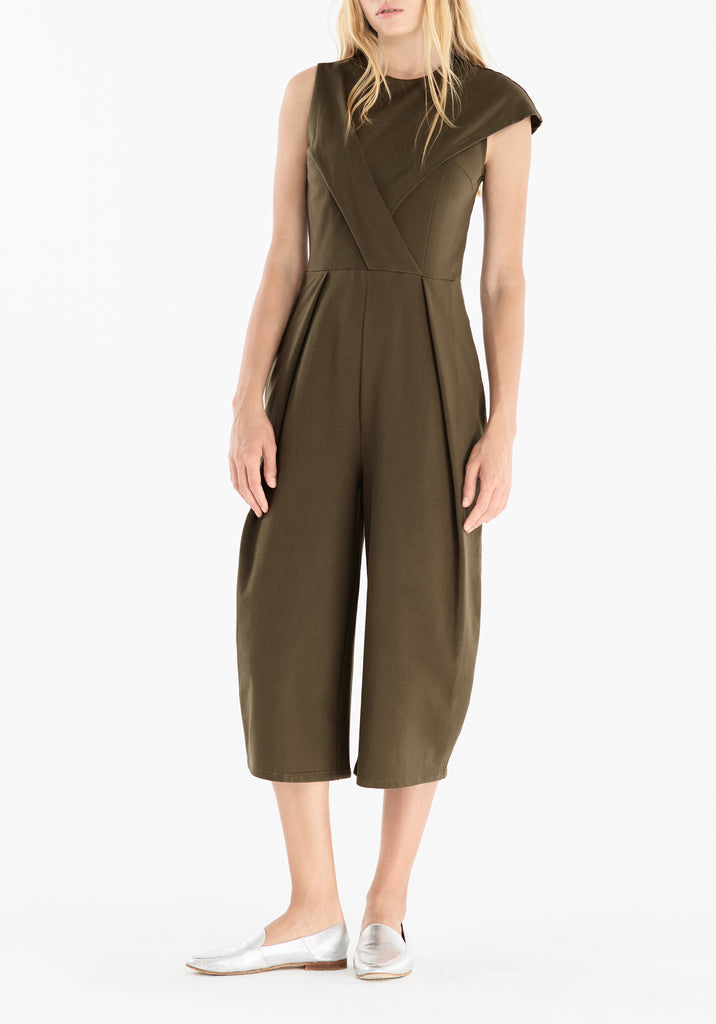 01319d2f6e9 ... Cropped Jumpsuit with Front Pleat Detail in Green