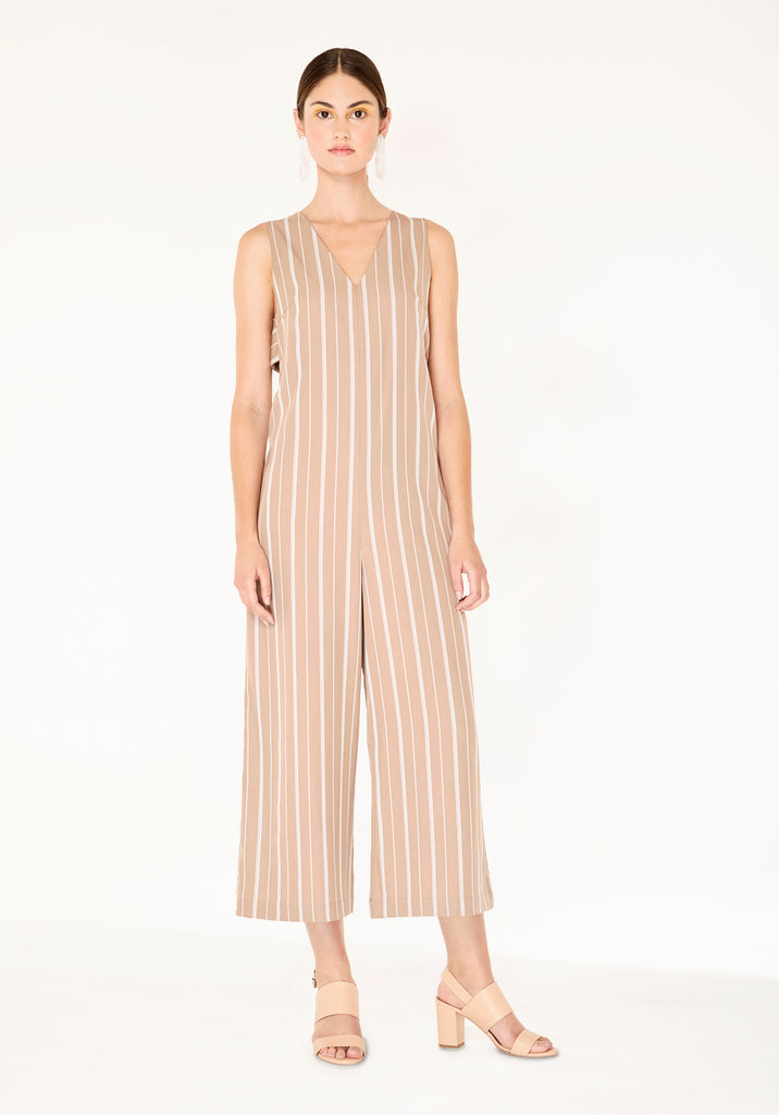 76235806619 ... Striped Jumpsuit with Side Cut Outs (with Self Belt) in Dusty Pink And  White