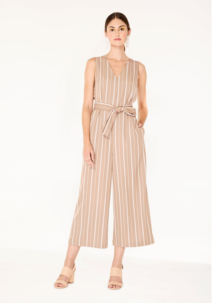 83bf24cebd7 Striped Jumpsuit with Side Cut Outs (with Self Belt) in Dusty Pink And  White ...