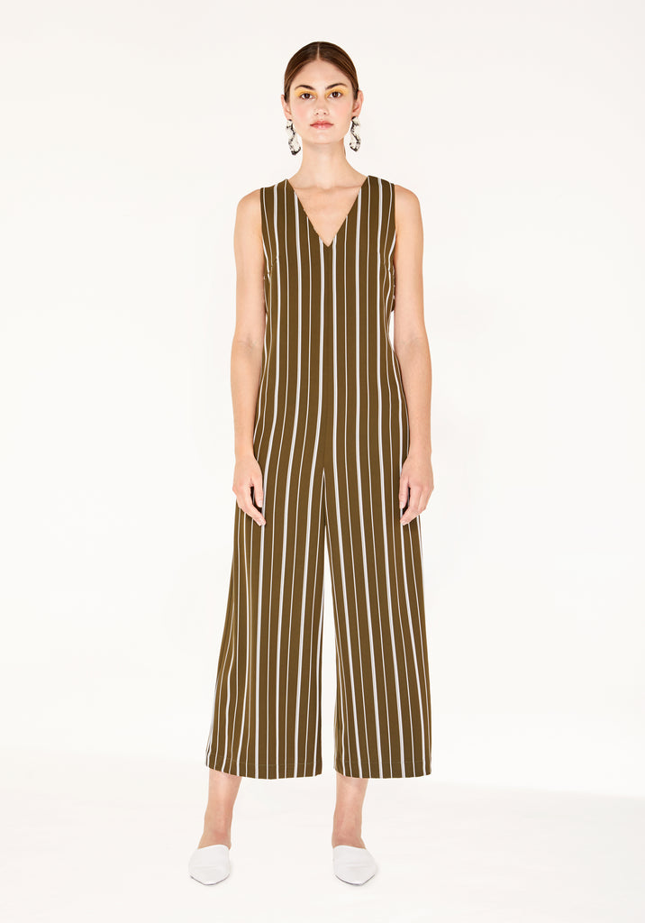 98e8a77c137 Striped Jumpsuit with Side Cut Outs (with Self Belt) in Olive Green ...