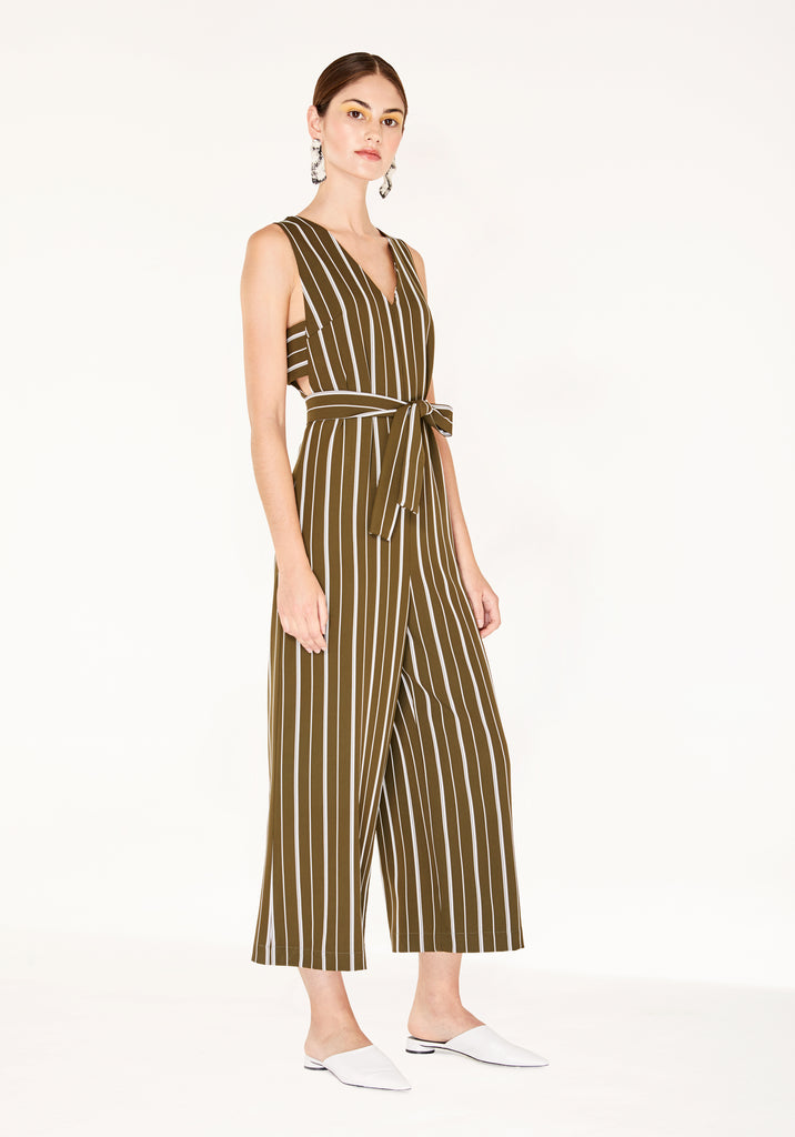 69532dbd65ab Striped Jumpsuit with Side Cut Outs (with Self Belt) in Olive Green and  White ...