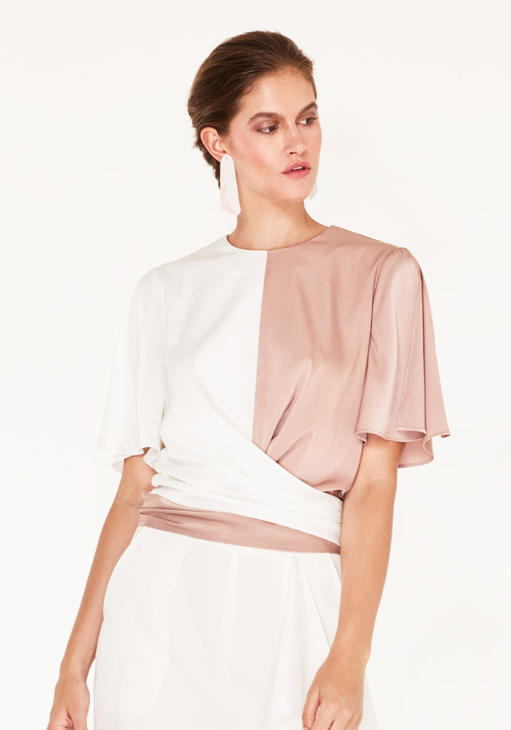 4eb63d8b11ee18 Two-Tone Satin Wrap Top with Tie Waist and Split Sleeves in Dusty Pink |  Paisie