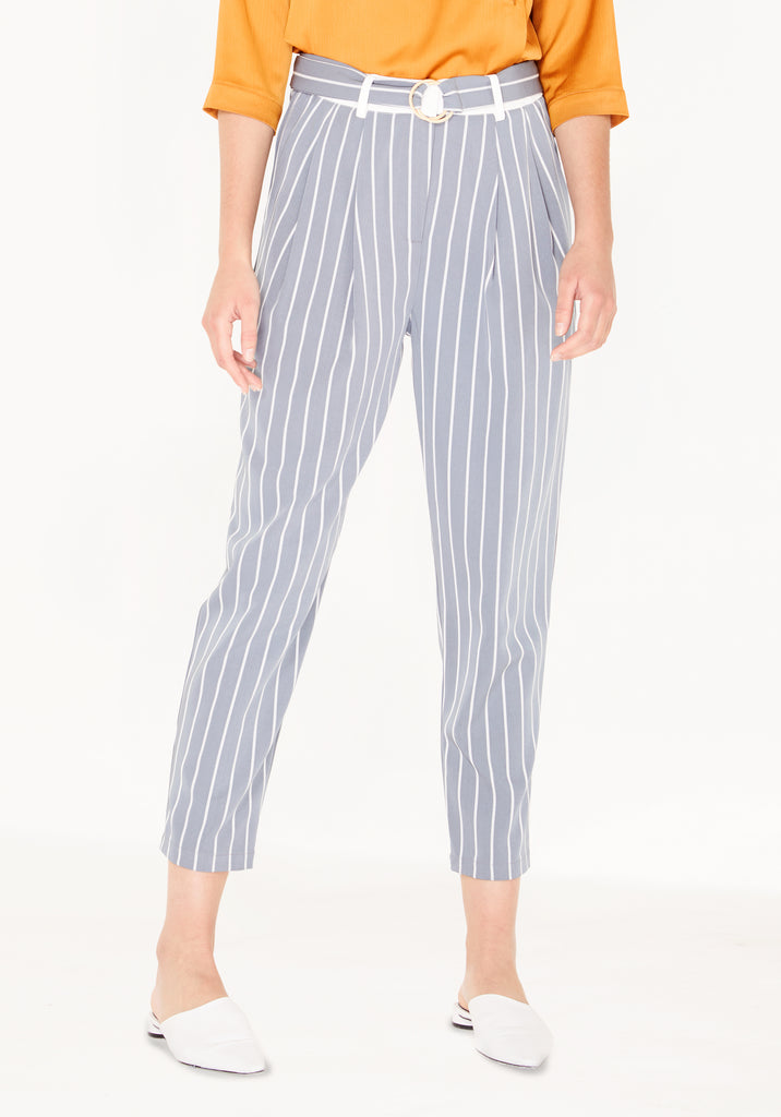 55b456cbd2e7 Striped Peg Leg Trousers with Contrast Waist Band (with Self Belt) in  Pastel Blue ...