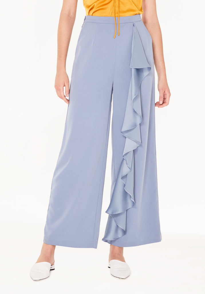 4d6086b7d2d8 Wide Leg Trousers with Ruffle Panel in Blue ...