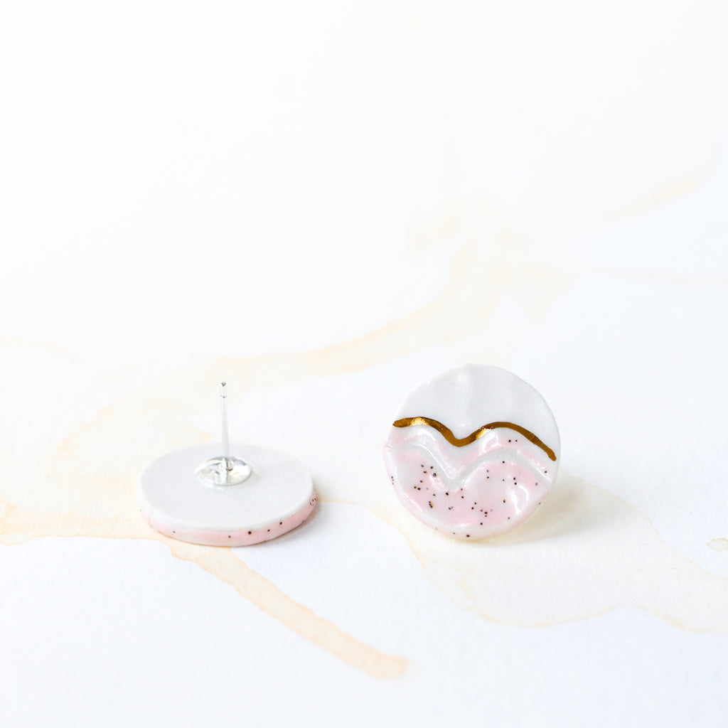 Pink Trail Button Earring #1
