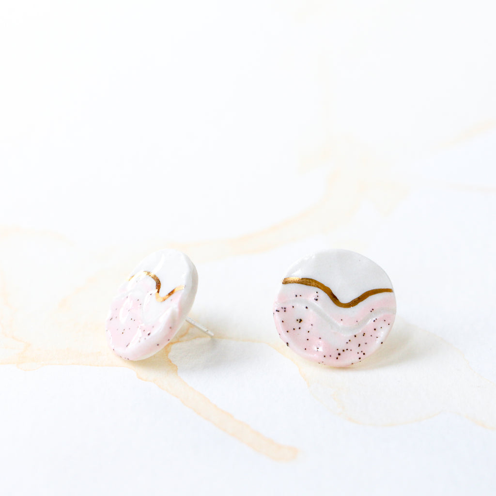 Pink Trail Button Earring #2