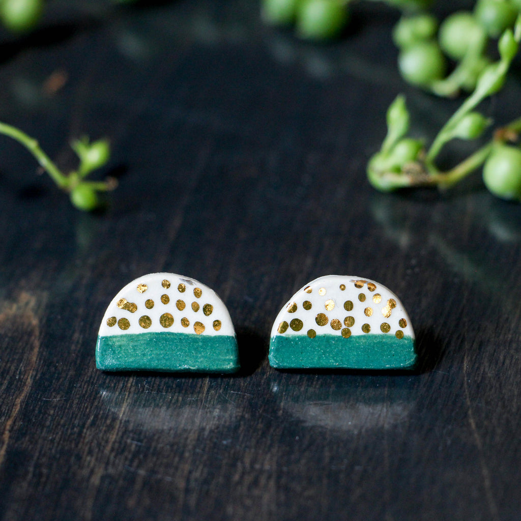 Emerald Gold Dot Half Button Earring