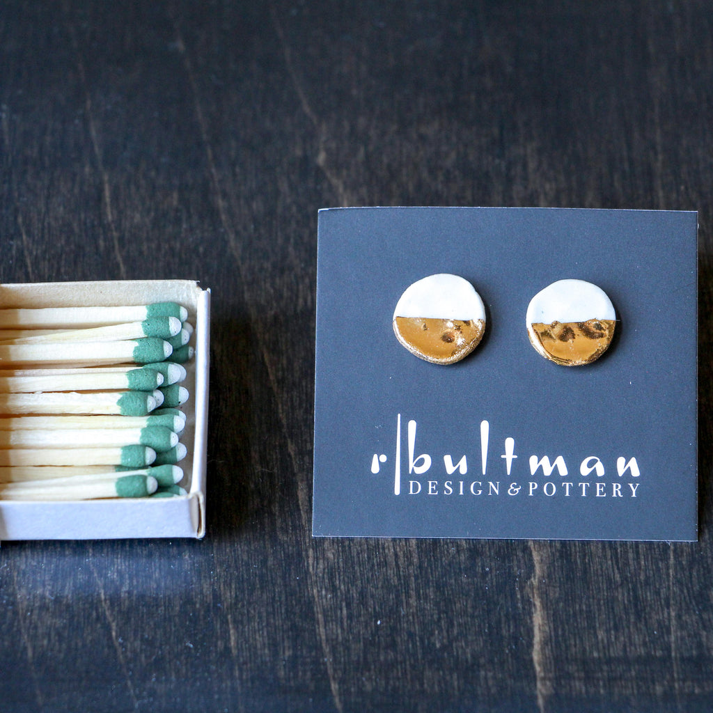 Small White & Gold Button Earring