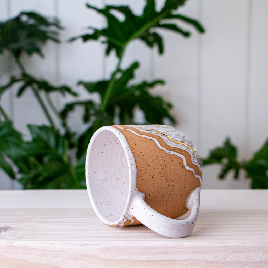 Small Handbuilt Pink Trail Hanging Planter