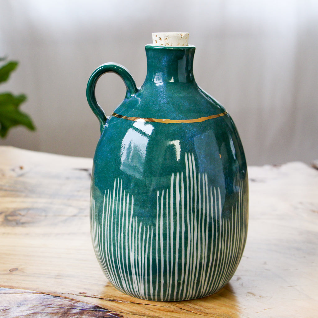 Emerald Carved Gold Band Jug