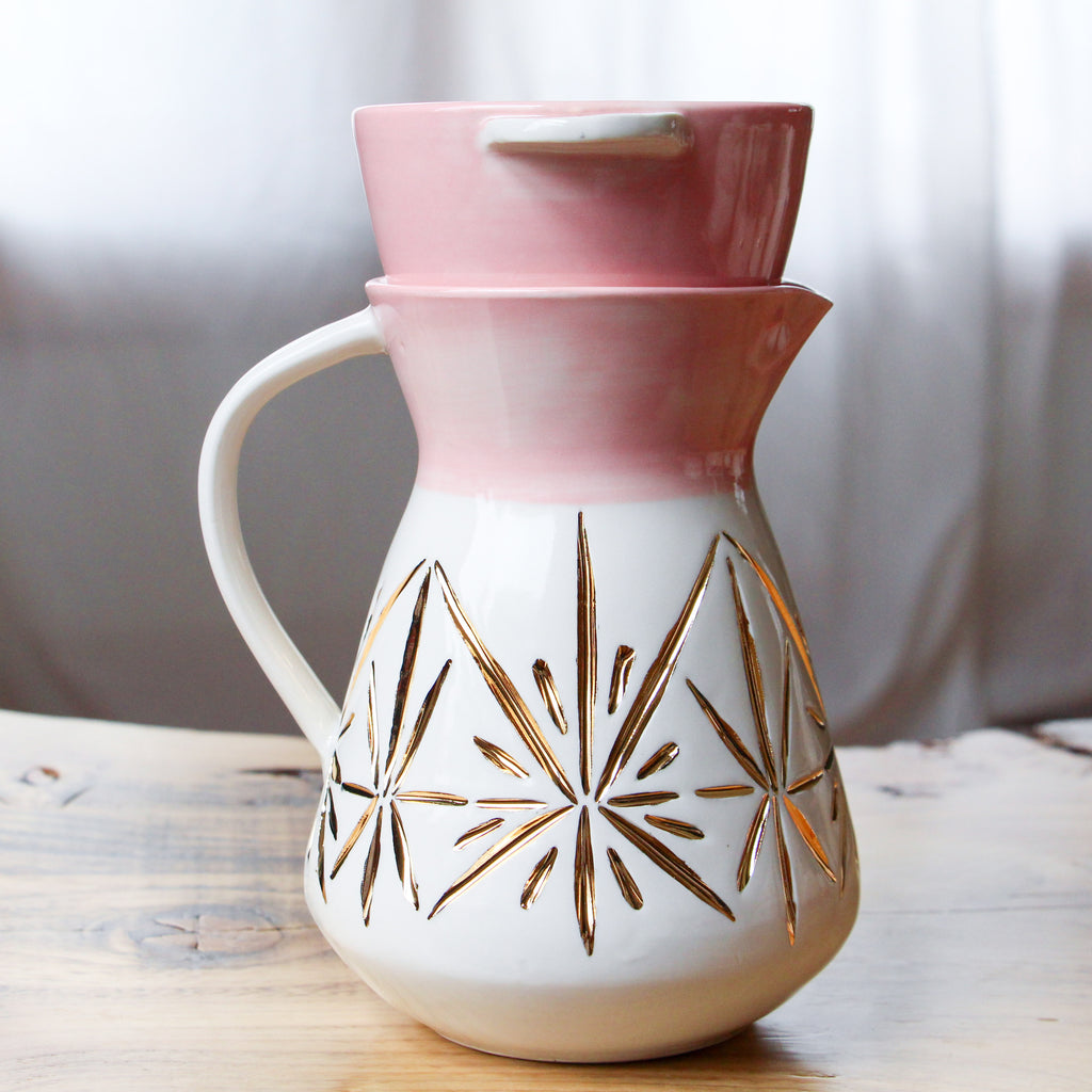 Pink Gold Deco Pour Over Set